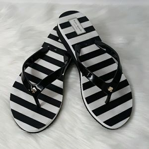 Kate Spade Black White Thong Flip Flops Sandals